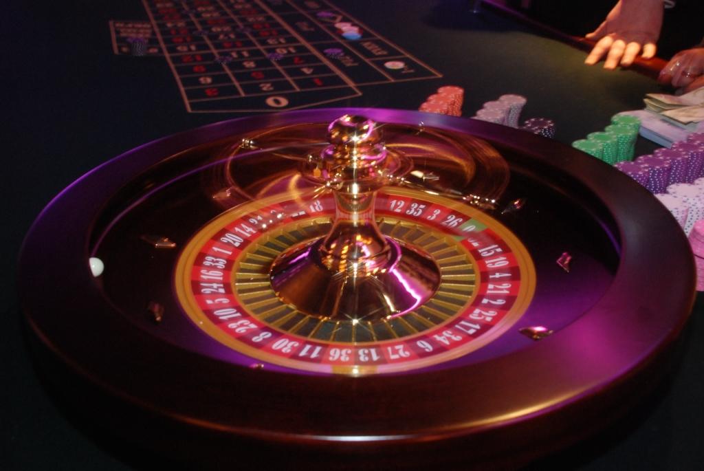 Roulette Roulettetisch mit längerer Belichtung aufgenommen